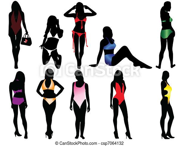 Illustrazioni vettoriali di donne costume da bagno - Donne senza costume da bagno ...