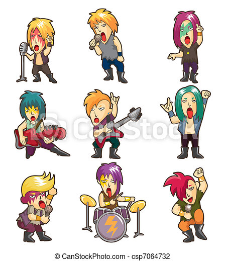 Cartoon Heavy Metal rock music band - csp7064732