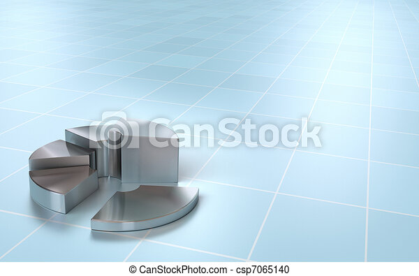 financial 3D pie chart onto a perspective background - csp7065140