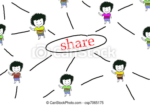People Sketching Network, concept of Information sharing - csp7065175