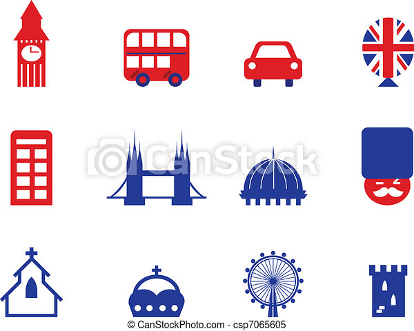 London & English icons and design elements isolated on white - csp7065605