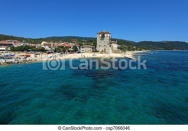 Phospfori tower in Ouranopolis, Athos Peninsula, Mount Athos, Chalkidiki, Greece - csp7066046