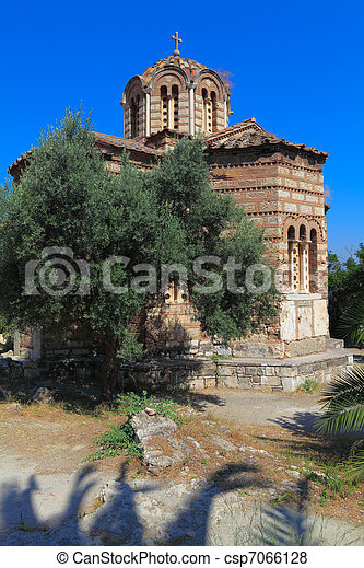Church of the Holy Apostles, Acropolis, Athens, Greece - csp7066128