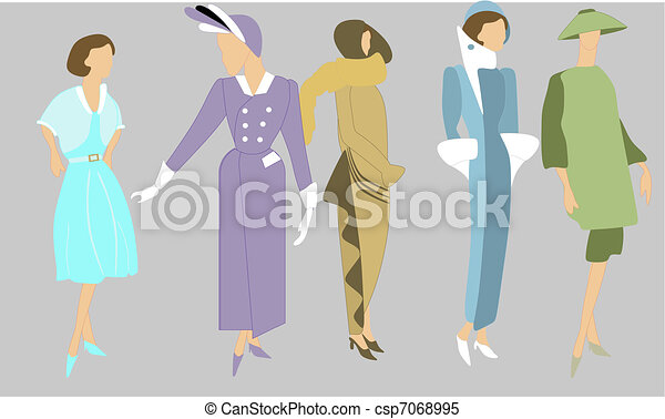 Retro Fashions dating from 1920 - csp7068995