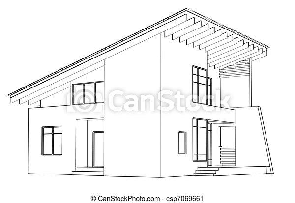 Clipart De Maison Dessin Architectural Perspective Architectural Csp7069661