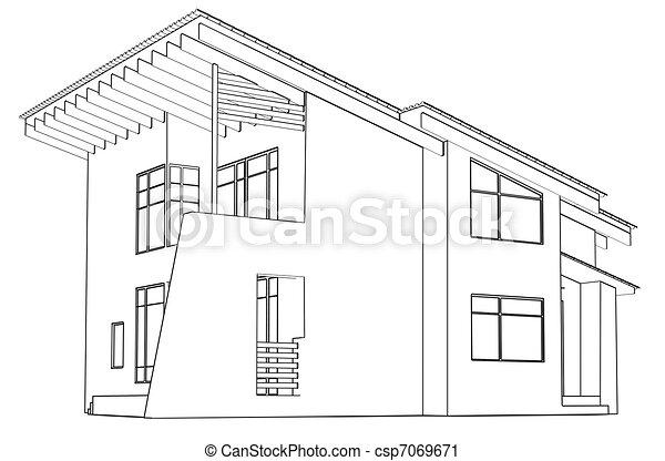 architettonico, disegno, casa, prospettiva - csp7069671