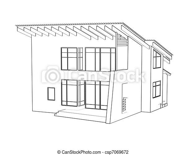 Clip Art De Architectural, Dessin, Maison, Perspective .