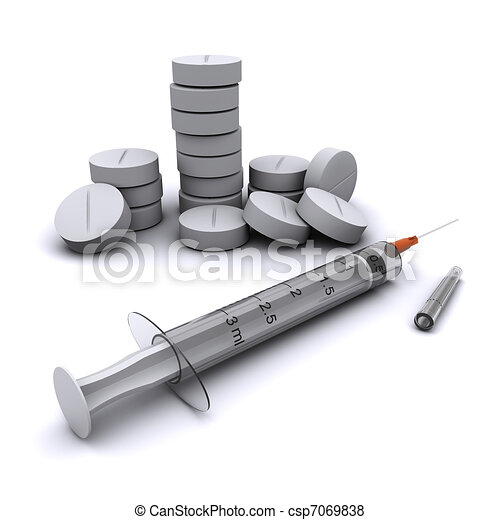 Medical preparations: Pills and a syringe. - csp7069838