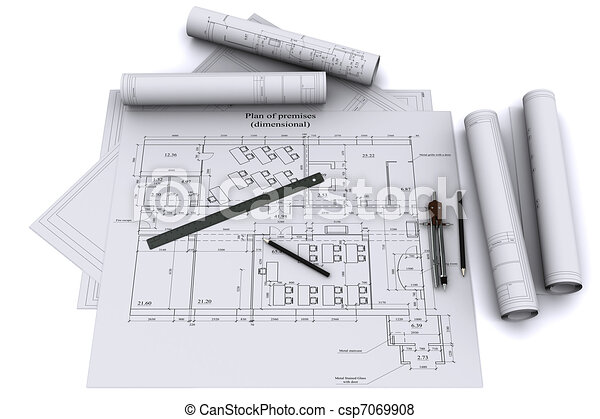 compass, ruler and pencil on architectural drawings - csp7069908