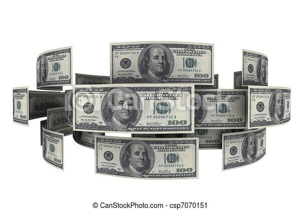 Dollars in circulation of money. 3d rendering - csp7070151