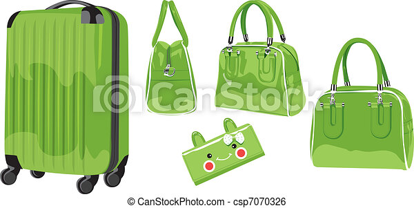 Material illustration- trolley case, suitcase, wallet, wrapped in white background - csp7070326