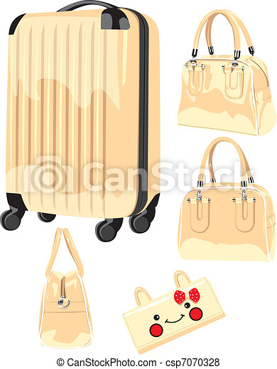 Material illustration- trolley case, suitcase, wallet, wrapped in white background - csp7070328