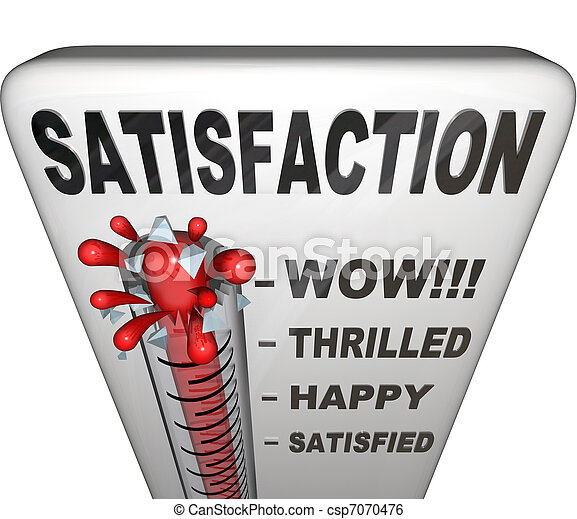 Satisfaction Thermometer Measuring Happiness Fulfillment Level - csp7070476