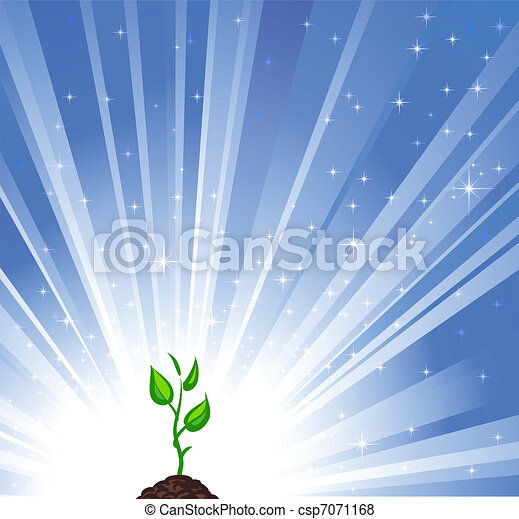 Growing green plant and blue star background as a symbol of nature protection  - csp7071168
