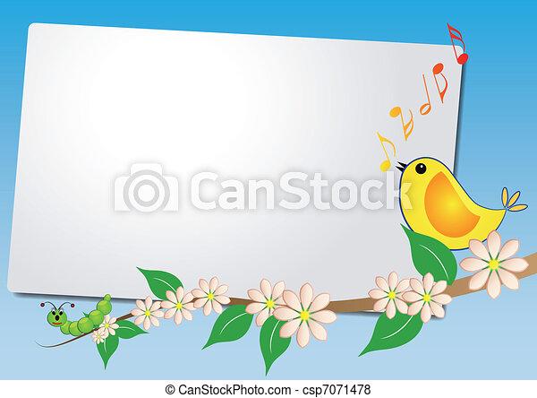 sheet with bird song - csp7071478