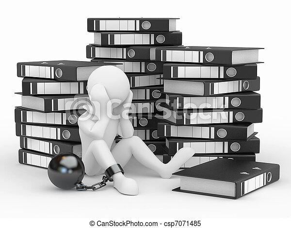 Clerk in archive. Men with folders. - csp7071485