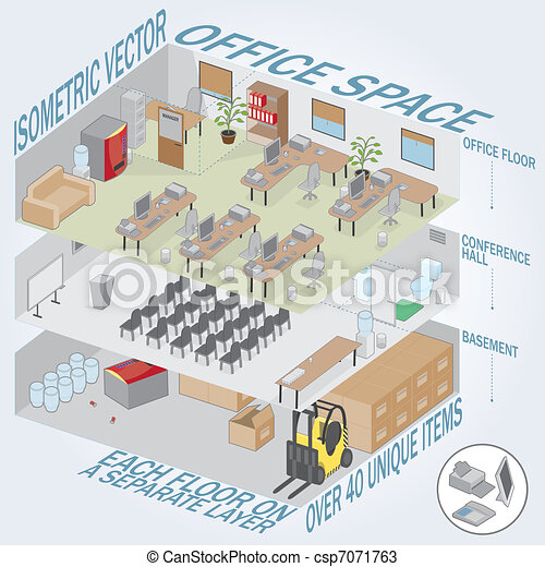 Isometric 3 level office - csp7071763