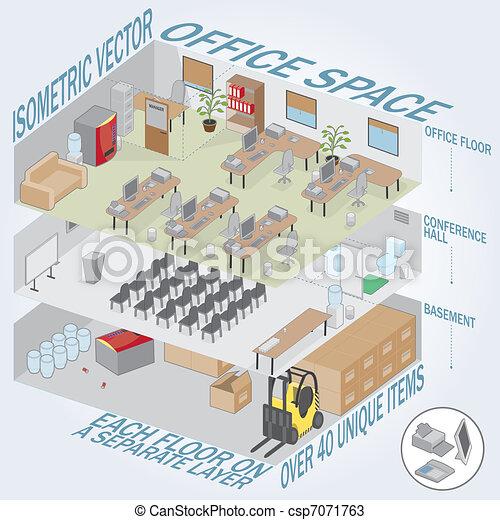Isometric 3 level office - csp7071763