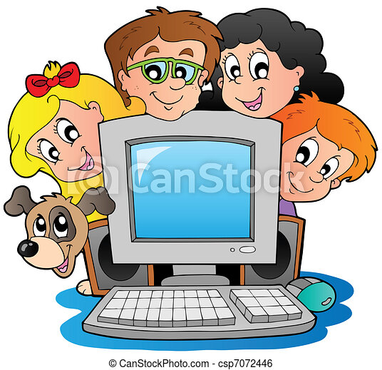Computer with cartoon kids and dog - csp7072446