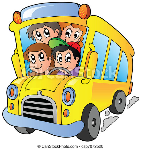 School bus with happy children - csp7072520