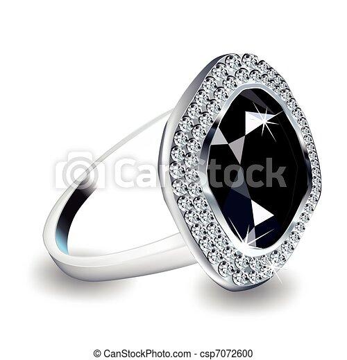 Diamantring gezeichnet  Vektor Clipart von ring., diamant, vektor - Diamond ...