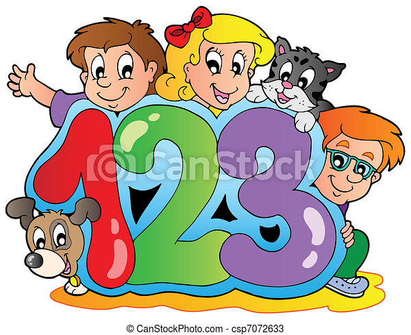 School theme with numbers - csp7072633