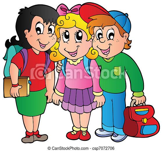 Three happy school kids - csp7072706