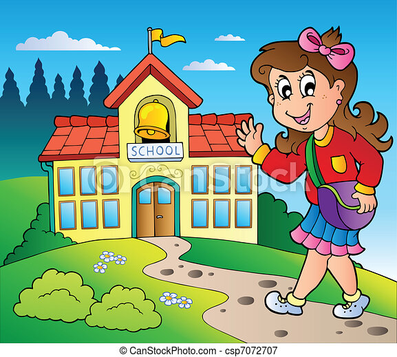 Theme with girl and school building - csp7072707