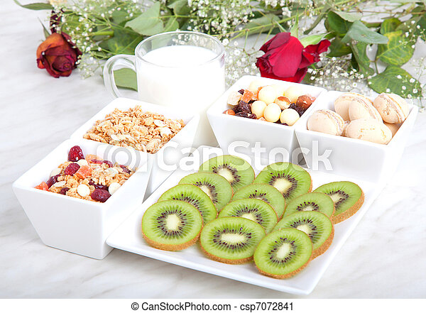 Breakfast of health food , product of muesli with fruit, nut, cornflakes and glass of milk  - csp7072841