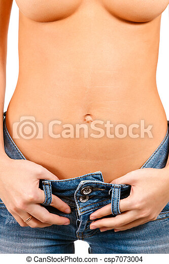 Torso of a girl in blue jeans - csp7073004