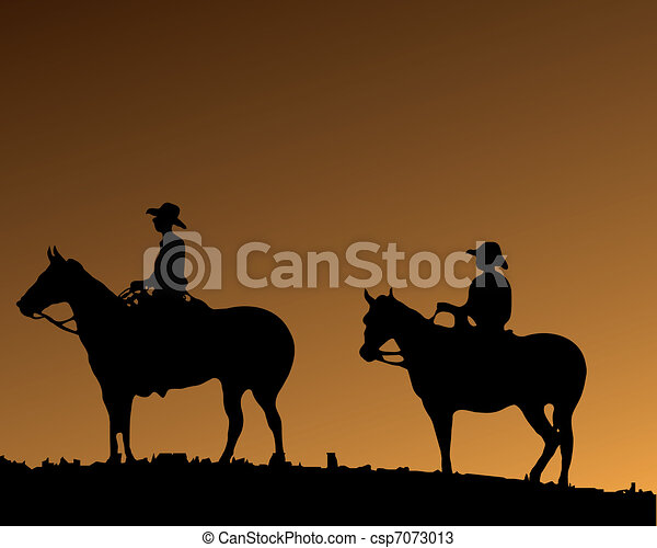 Two Cowboy\'s on two horses - csp7073013