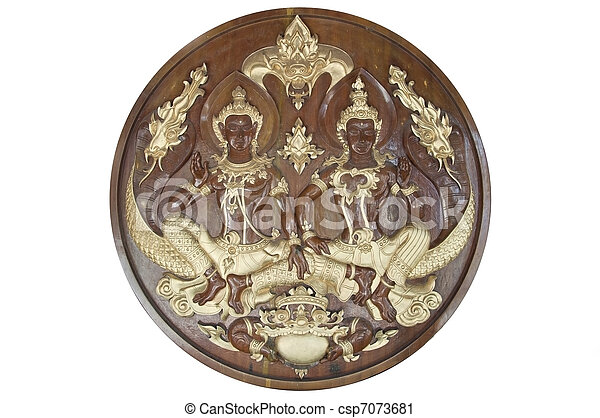 Thai style wooden hand made craving - csp7073681