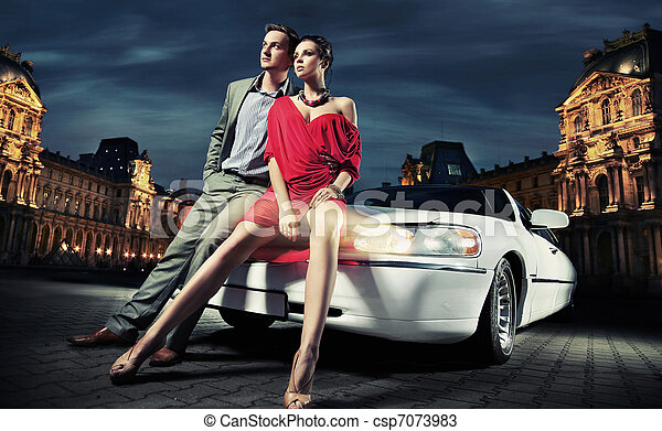 fashionable couple going to party - csp7073983