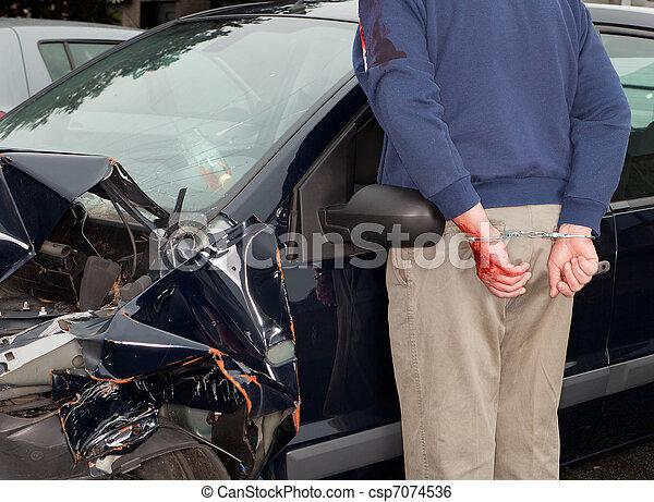 Arrested after car crash - csp7074536
