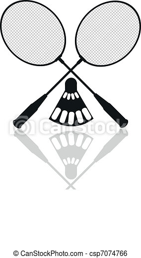Clip art vecteur de badminton raquettes silhouettes - Raquette dessin ...