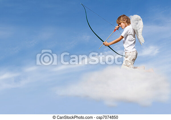 valentines day concept, cupid on cloud, shooting arrow - csp7074850