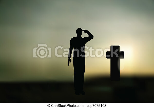 Silhouette of an army soldier salut - csp7075103