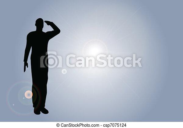 士兵, salut, 侧面影象, 军队 - csp7075124