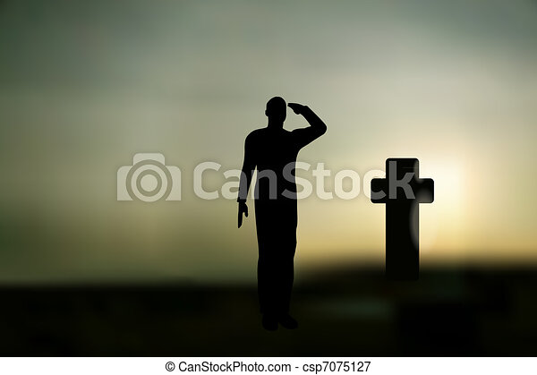 Silhouette of an army soldier saluting on hills against sunset and a grave  - csp7075127