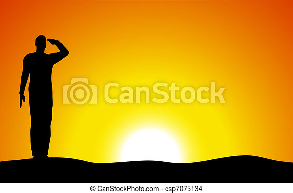 Silhouette of an army soldier saluting on hills against sunset - csp7075134