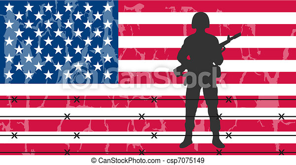 Silhouette of an army soldier in front of usa flag  - csp7075149