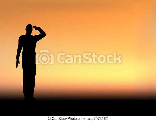 Silhouette of an army soldier saluting on hills against sunset - csp7075162