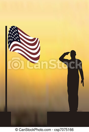 Silhouette of an army soldier salut - csp7075166