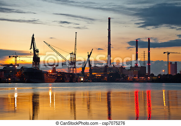 Industrial view at sunset - csp7075276