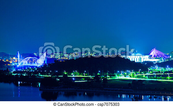 Putrajaya, Malaysia Night View - csp7075303
