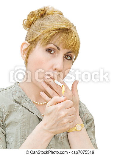Addiction - woman smoking - csp7075519
