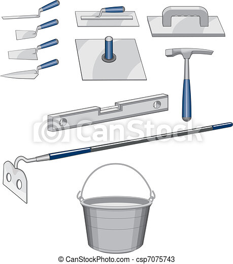 Bricklayer Masonry Tools - csp7075743