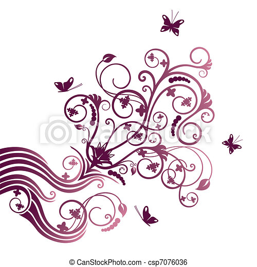 Purple flower and butterfly ornate - csp7076036