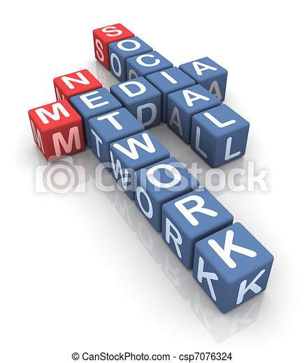 Crossword of social media network - csp7076324