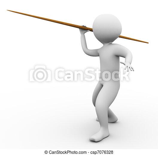 3d man javelin throw - csp7076328